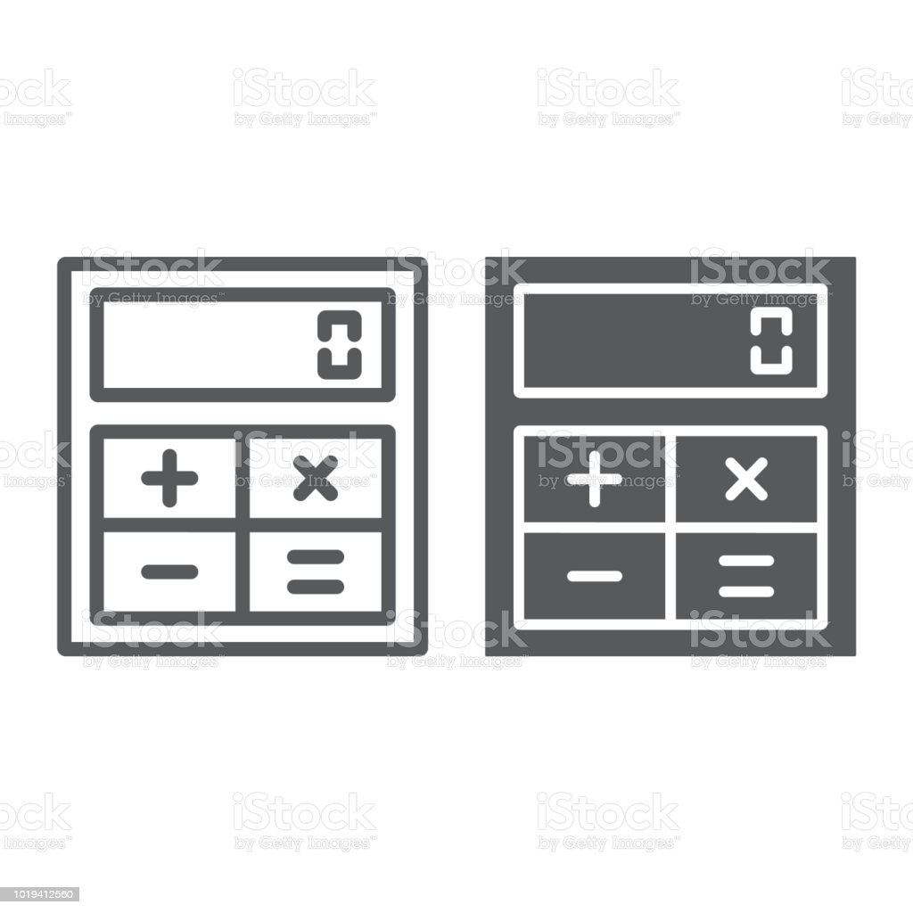 Online calculator thin line icon finance and banking calculator.