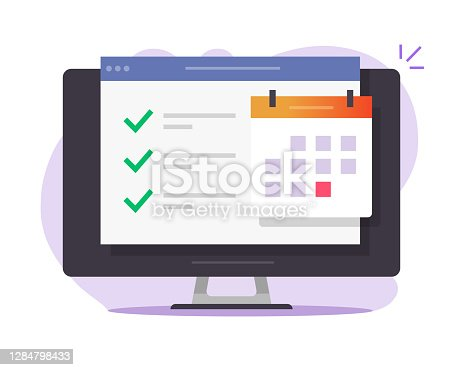 Online calendar web task to do list with done finished business things, website internet scheduled digital events appointments on computer screen vector flat illustration, agenda icon modern image