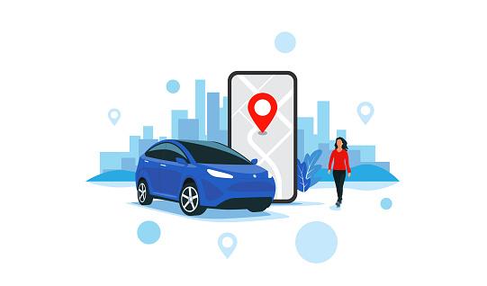 Online Car Sharing Service Remote Controlled Via Smartphone App City Transportation