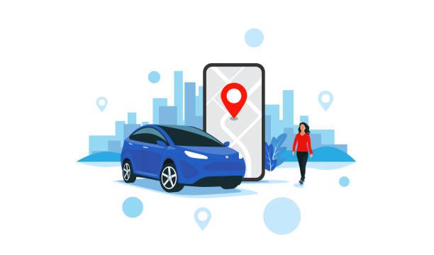 ilustrações, clipart, desenhos animados e ícones de serviço de compartilhamento de carros on-line controlado remotamente via smartphone app city transportation - carro