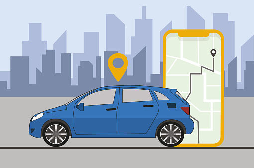 Online Car Sharing Service Remote Controlled Via Smartphone App City Transportation, Traffic on the Highway with Smartphone Car App and City Skyline