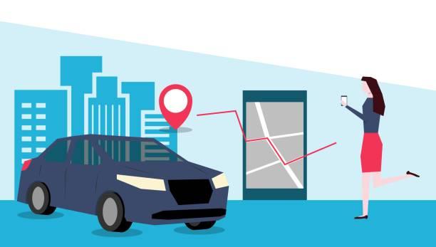 通過移動應用向量圖線上汽車共用向量藝術插圖