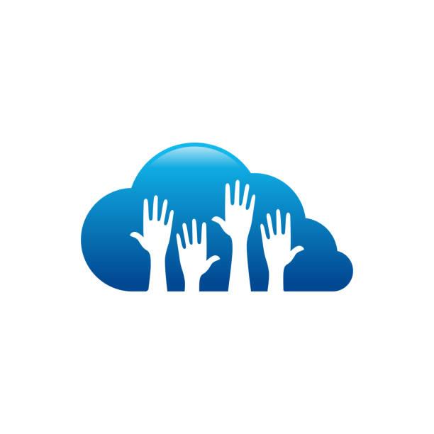 stockillustraties, clipart, cartoons en iconen met online caring logo ontwerpen, cloud care logo ontwerpen vector - festival logo baby
