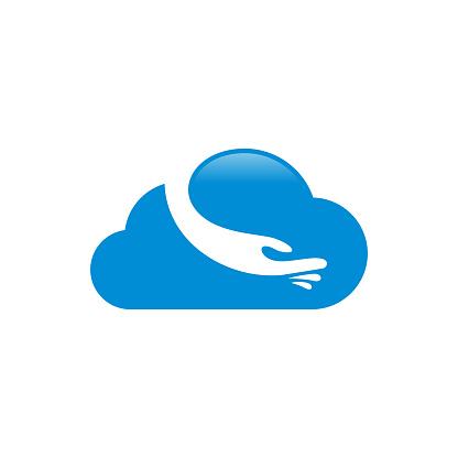 Online Caring Logo Ontwerpen Cloud Care Logo Ontwerpen Vector Stockvectorkunst en meer beelden van Abstract