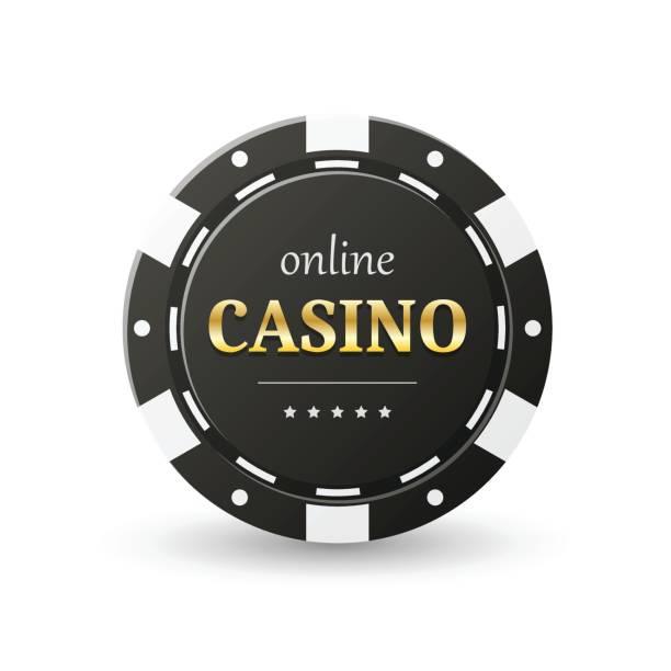 Online casino banner Online casino banner. Black chip, isolated on white. Gambling concept, poker mobile app icon. Vector design. gambling chip stock illustrations