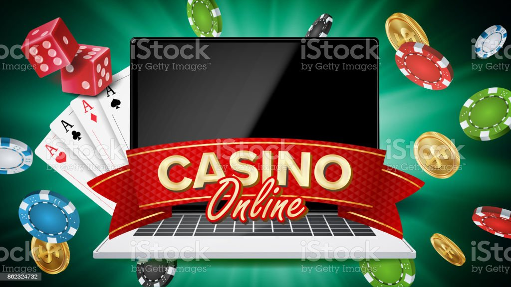 Online Casino Banner Vector Realistic Laptop Gambling Casino