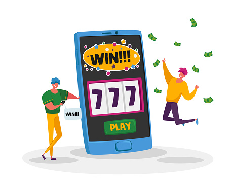 Online Casino, Financial Freedom. Happy Men Screaming Super Excited Get Jackpot. Ecstatic Characters Celebrate Success