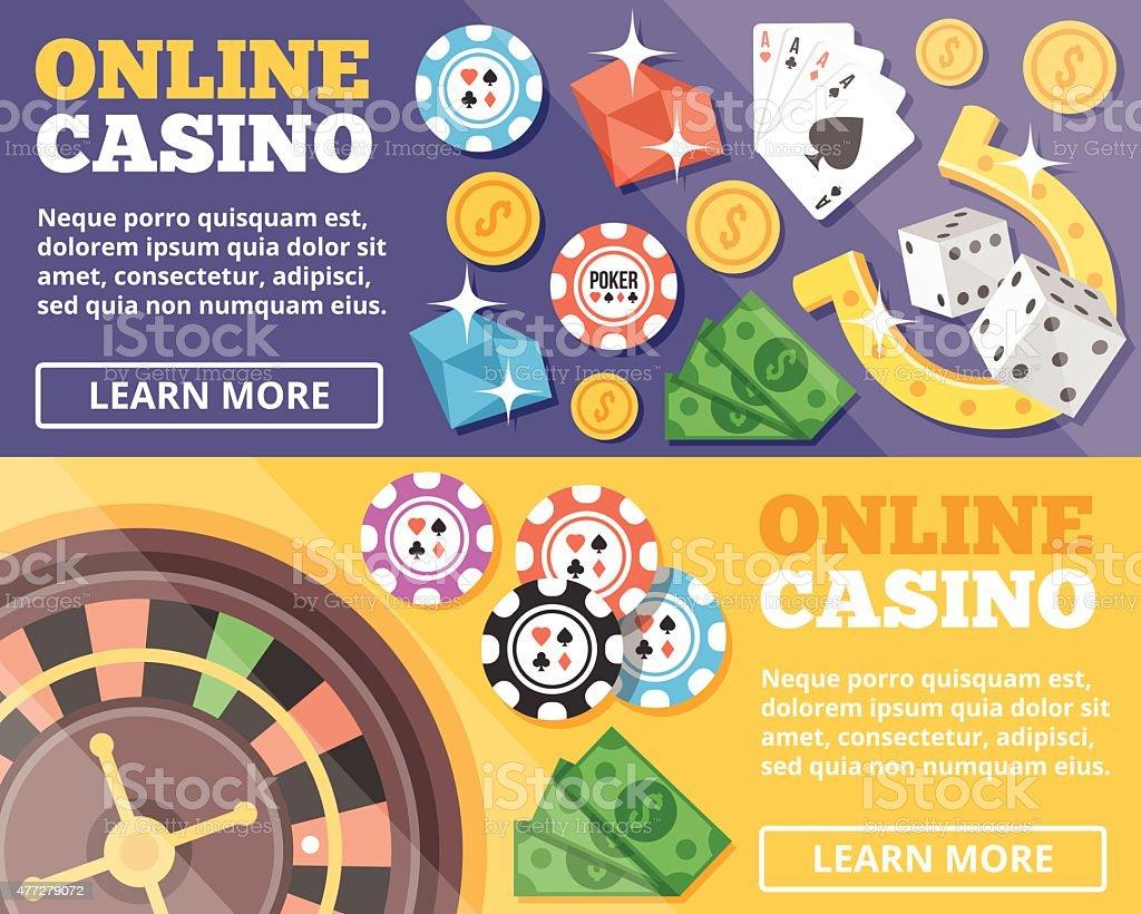 Online casino flat illustration concepts set vector art illustration
