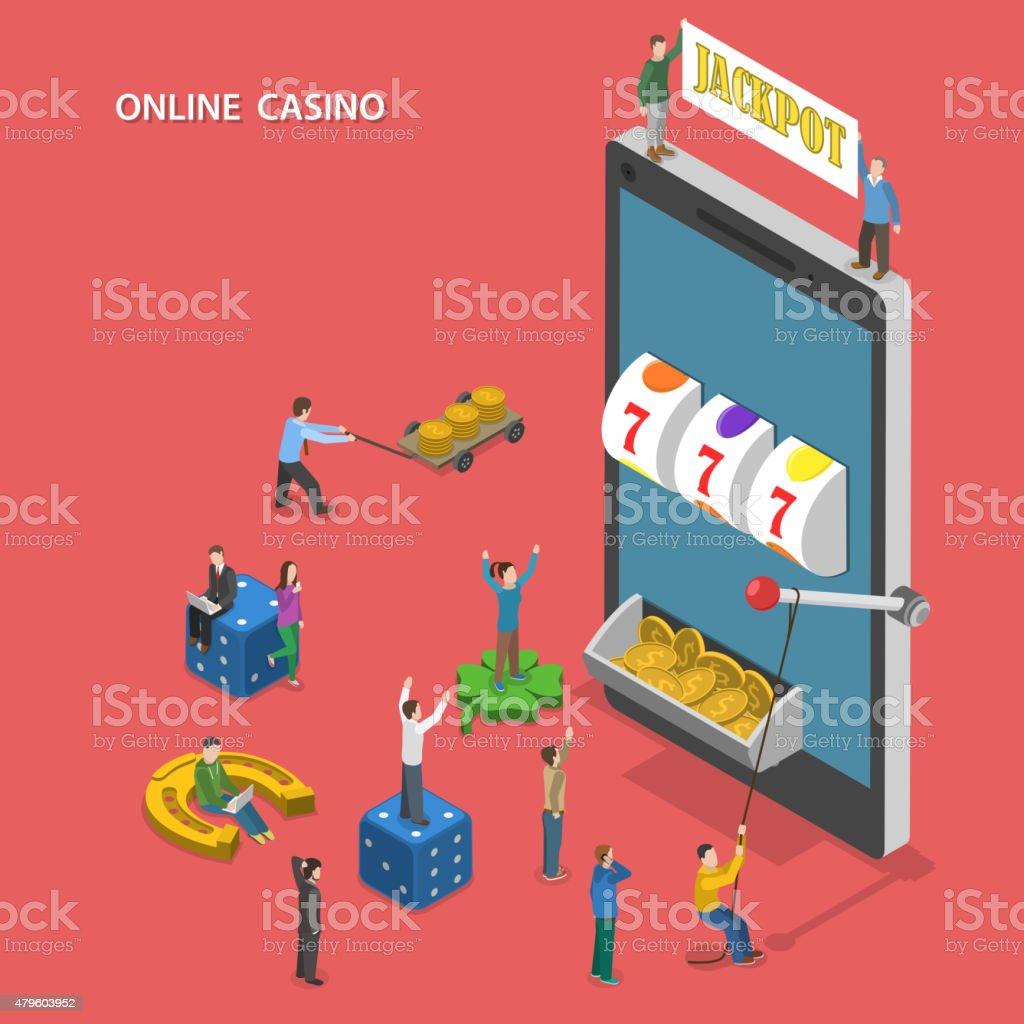 Online casino flat isometric vector concept. vector art illustration