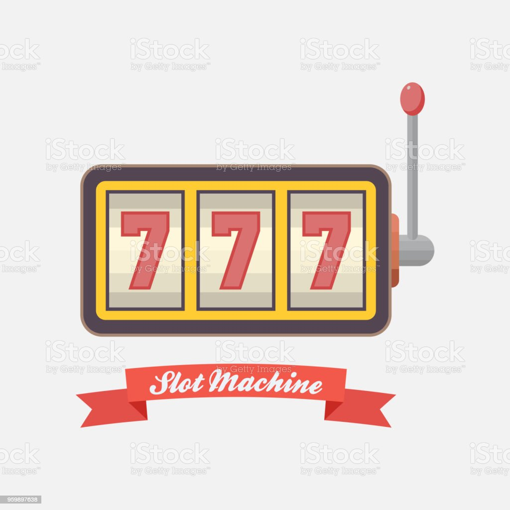 online casino icon, slot machine, winning, jackpot 777 vector art illustration
