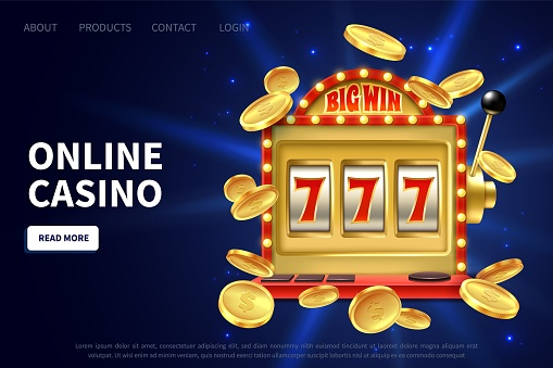 Online casino landing page. Slot machine gamble poster, promotional banner with flying gold coins and jackpot, lucky instant win, internet leisure bingo game vector illustration