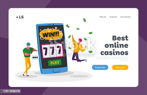 istock Online Casino Landing Page Template. Happy Young Men Screaming Super Excited Get Jackpot. Characters Celebrate Success 1281356026