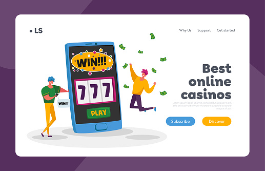 Online Casino Landing Page Template. Happy Young Men Screaming Super Excited Get Jackpot. Characters Celebrate Success