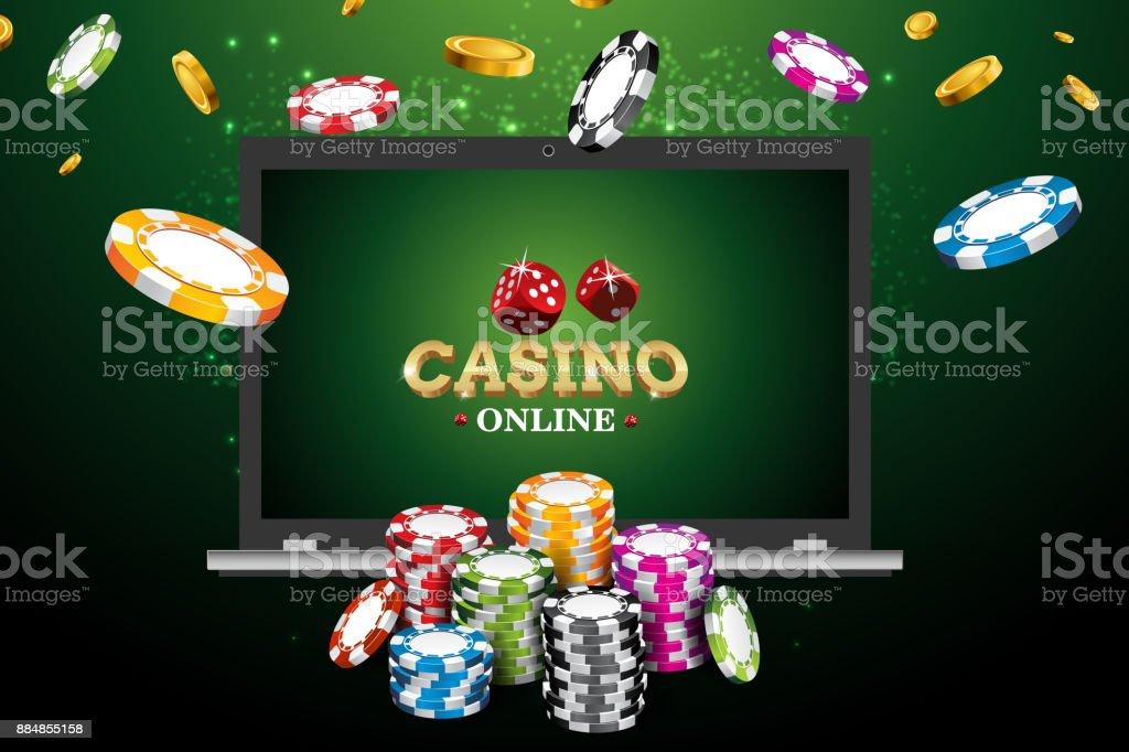 Online casino poster. Modern laptop concept. Vector illustration jackpot advertising concept. vector art illustration