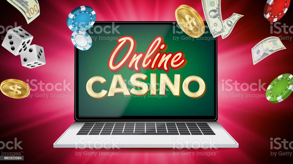 Online Casino Vector Banner With Laptop Poker Gambling Casino Poster Sign  Jackpot Billboard Promo Concept Illustration Stock Illustration - Download  Image Now - iStock