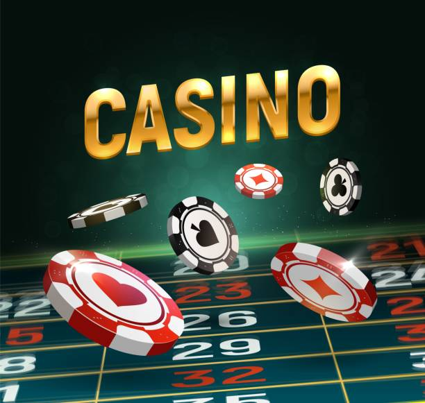 Online casino vector illustration. Black and red chips falling on gaming table with golden text on dark background. Online casino vector illustration Black and red chips falling on gaming table with golden text on dark background casino stock illustrations