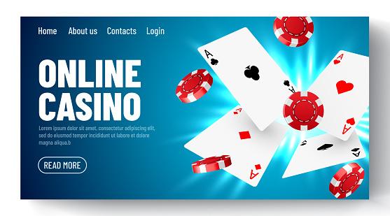 Online casino. Web landing page template or banner for internet poker game. Gambling illustration flying poker cards, chips game elements.