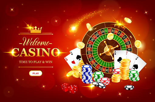 Online casino wheel of fortune vector roulette gambling game. Jackpot big win, casino poker club cash. Golden coins, dice, playing cards and chips. Las Vegas royal gamble games realistic 3d poster