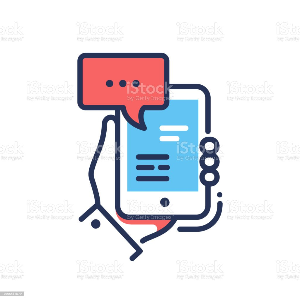 Online Chat - modern vector line design single icon vector art illustration