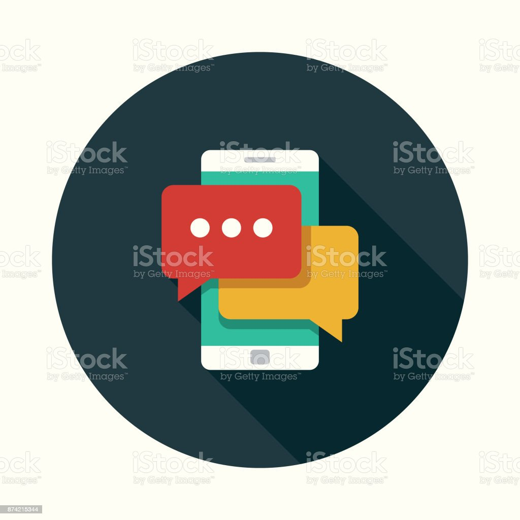 Online Chat Social Media Flat Design Icon with Side Shadow vector art illustration