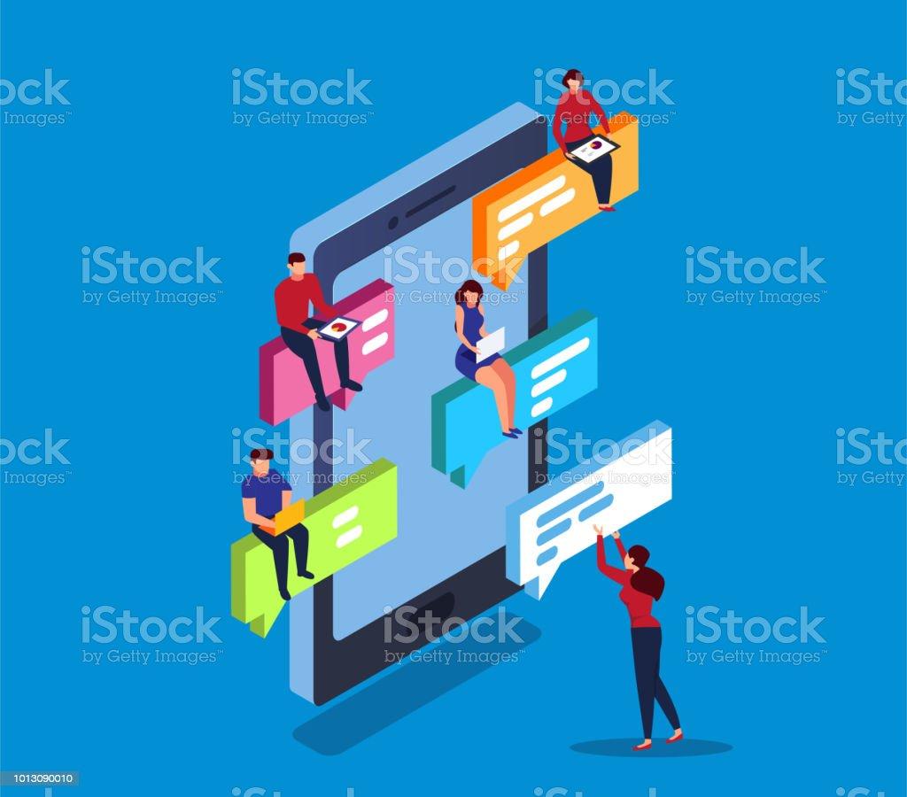 online chating vector art illustration