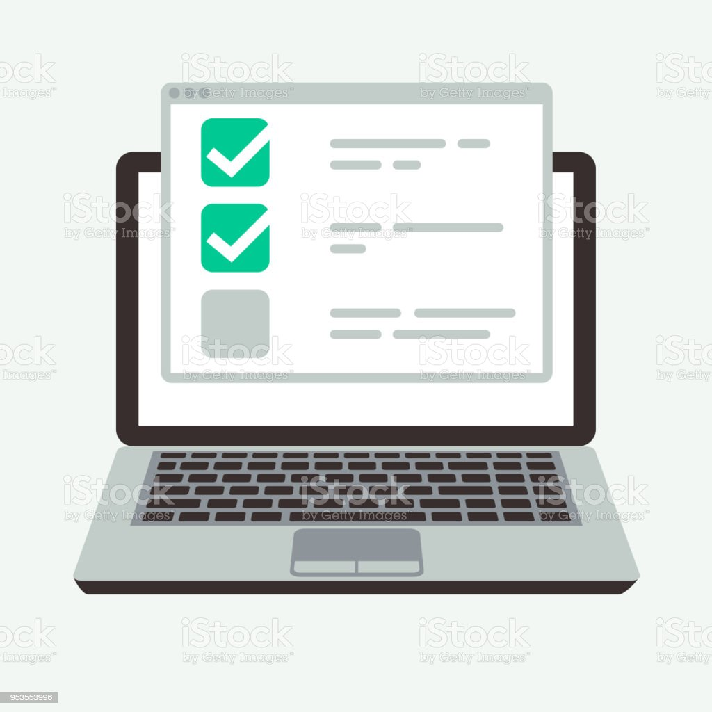 Online checklist on laptop display. Success quiz and exam testing vector concept vector art illustration