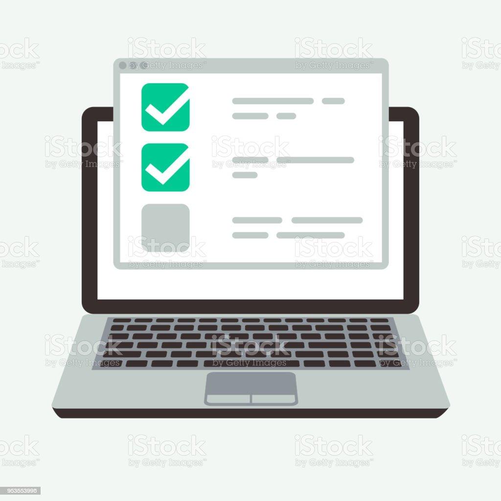 Online-Checkliste auf Laptop-Display. Erfolg-Quiz und Prüfung Prüfung Vektor-Konzept – Vektorgrafik