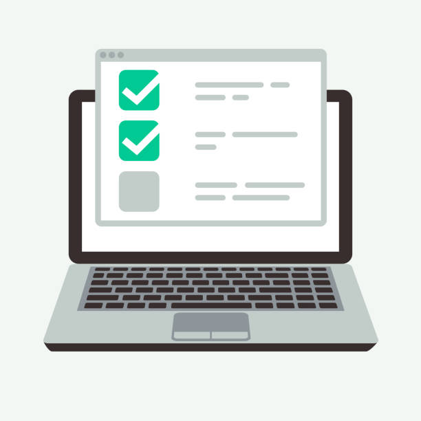 ilustraciones, imágenes clip art, dibujos animados e iconos de stock de lista de verificación en línea en la pantalla de la laptop. éxito quiz y examen de prueba de concepto de vector - survey icon