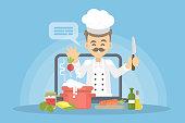 Online chef concept.