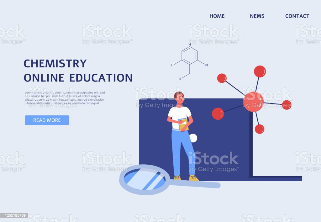Online Chemistry Education Banner Science Website Template With Student Stock Illustration Download Image Now Istock