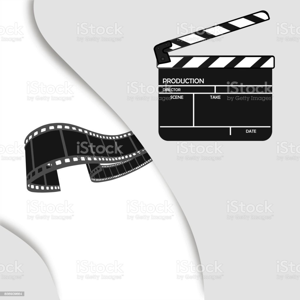 Online Cinema Background With Movie Reel And Clapper Board Vector Flyer Or Poster Illustration