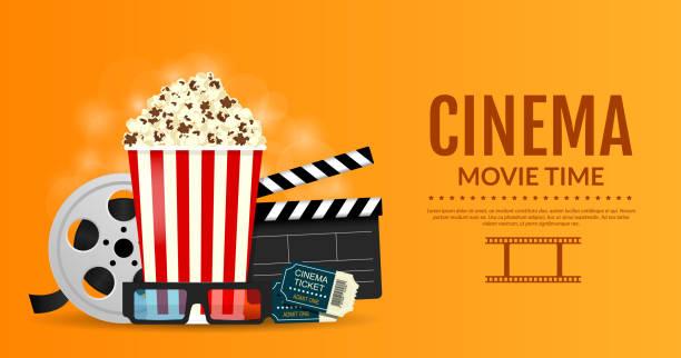 Online cinema banner. Elements of the film industry, popcorn, film reel, clapper board, cinema tickets and 3d glasses. vector art illustration