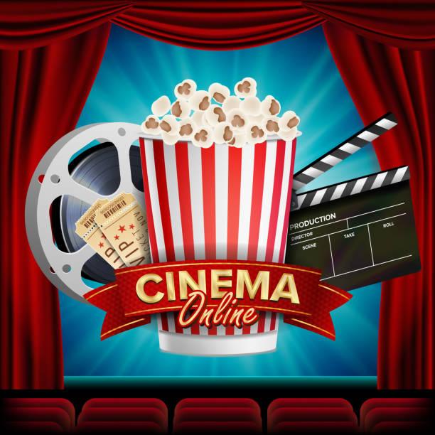 stockillustraties, clipart, cartoons en iconen met online cinema banner vector. realistisch. film industrie thema. doos van popcorn, elementen van de bioscoop. theater gordijn. illustratie - photography curtains