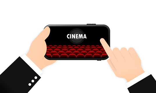 Online cinema on your phone banner. Movie time. Vector on isolated white background. EPS 10