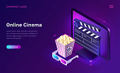 Online cinema or movie, isometric concept vector illustration. Computer monitor or TV screen, popcorn bucket, 3D glasses and clapper on ultraviolet background. Home cinema website landing page