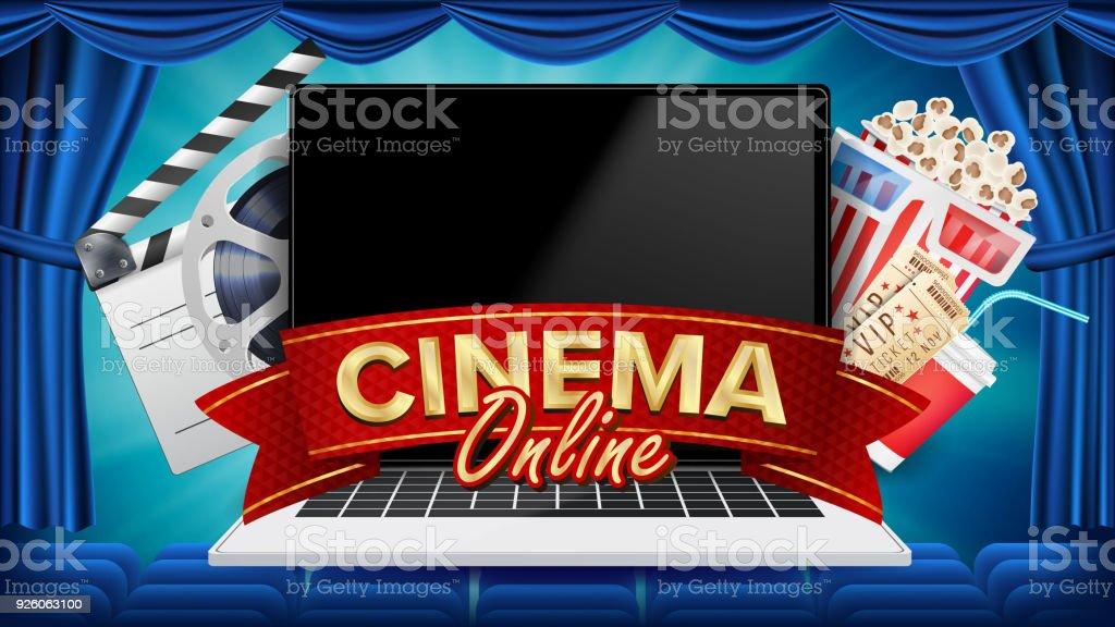 online cinema poster vector moderne laptop concept online thuisbioscoop theater gordijn pakket