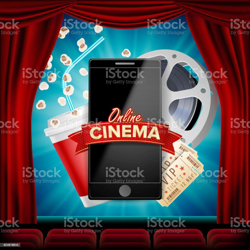 Vectores De Cine Online Banner Con El Teléfono Móvil Cortina Roja ...