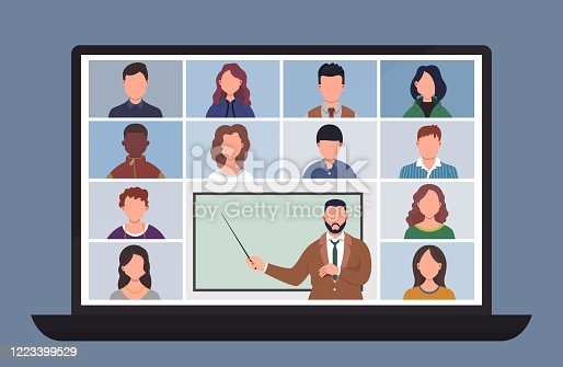 istock Online Class. Pupils or students studying with computer at home. Stay school learn from home via teleconference. Video conference call on laptop during coronavirus quarantine. Distance education concept vector illustration 1223399529