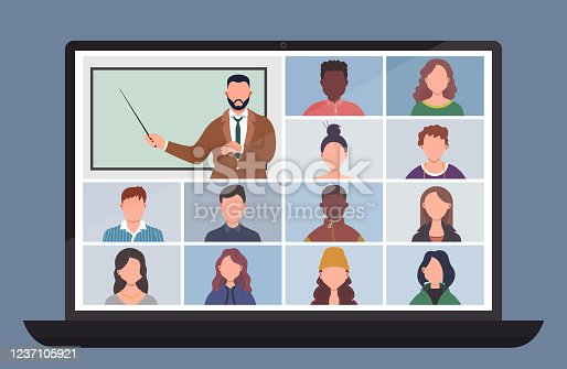 Online Class. Pupils or students studying with computer at home. Stay school learn from home via teleconference. Video conference call on laptop during coronavirus quarantine. Distance education concept vector illustration
