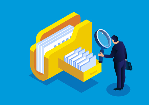 Online cloud file query and management, isometric businessman holding a magnifying glass to find files