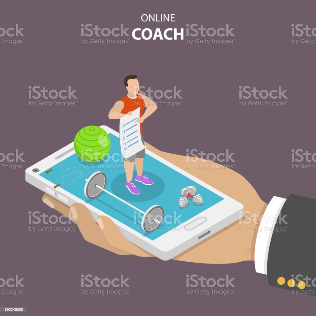 Online coach flat isometric vector concept. vector art illustration