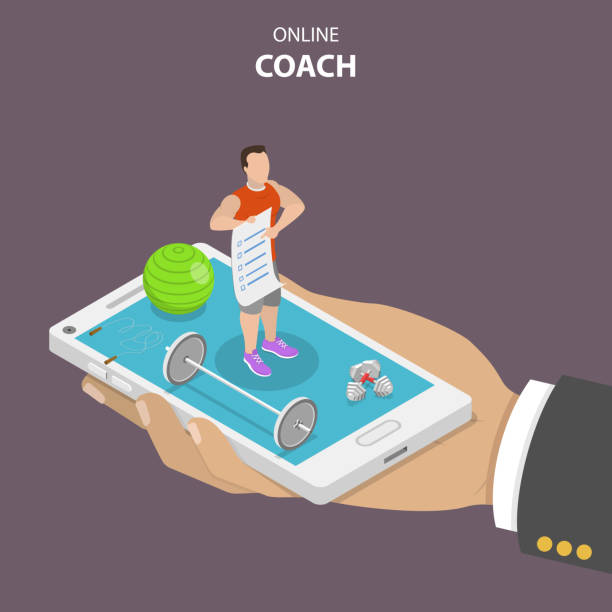 Online coach flat isometric vector concept. Online coach flat isometric vector concept. Hand is holding a smartphone with a fitness instructor on it that is surrounded by sport requisites. Instructor is holding in his hand a training program. coach stock illustrations