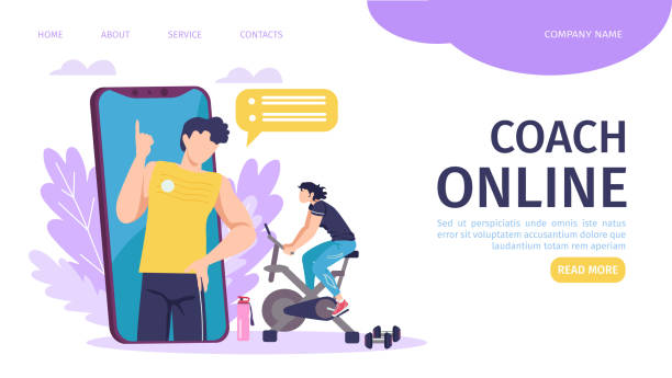 Online coach training landing page template vector illustration. Smartphone with fitness instructor, sport requisites. Online coach program. vector art illustration