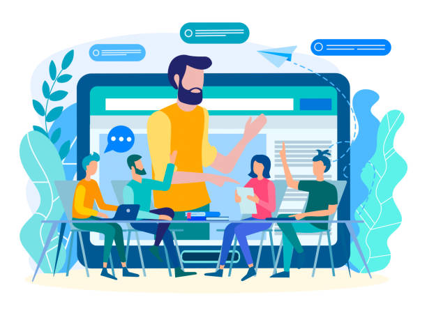online coaching, online training, web communication concept. - group of people stock illustrations