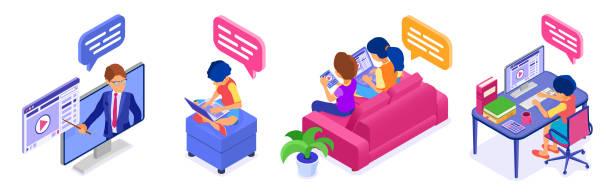 illustrazioni stock, clip art, cartoni animati e icone di tendenza di online collaboration education from home - didattica a distanza