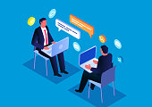 Online communication and negotiation, isometric two businessmen sitting and chatting with laptops