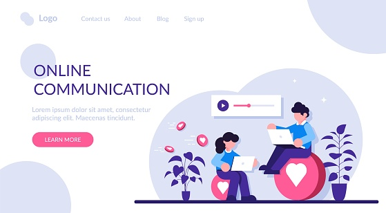 Online communication concept. A man and a woman communicate through social messengers, evaluate each other is content and photos. Modern flat illustration.