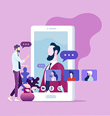 Online communication concept. Office workers group video chat