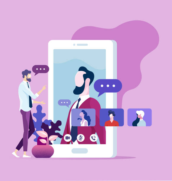 ilustraciones, imágenes clip art, dibujos animados e iconos de stock de concepto de comunicación online. grupo de trabajo de office chat de vídeo - online meeting