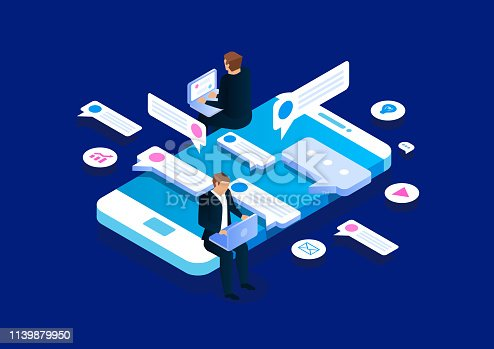 istock Online communication, isometric business network communication and analysis 1139879950
